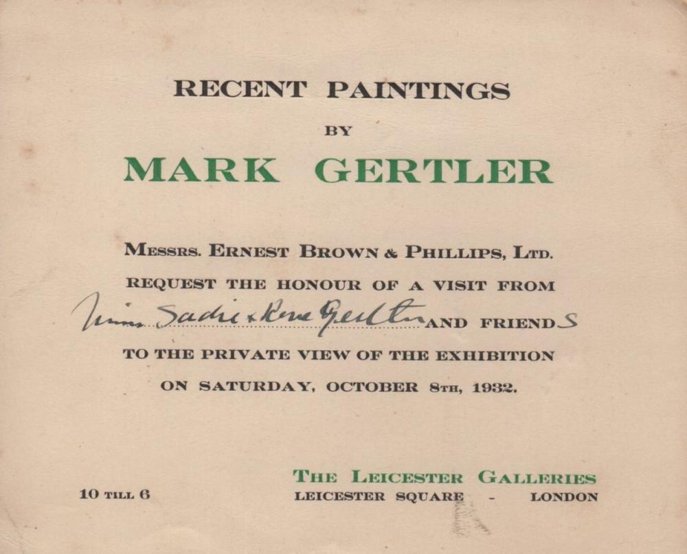 GERTLER MARK: (1891-1939) British Painter  A scarce, brief A L S