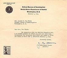 HOOVER J. EDGAR: (1895-1972) American Director of the Federal Bureau of Investig