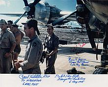 ENOLA GAY: Multiple signed colour 10 x 8 photograph by four crew members of the