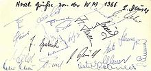 GERMAN FOOTBALL: A slim oblong 8vo card individually signed by over 20 members of the West German fo