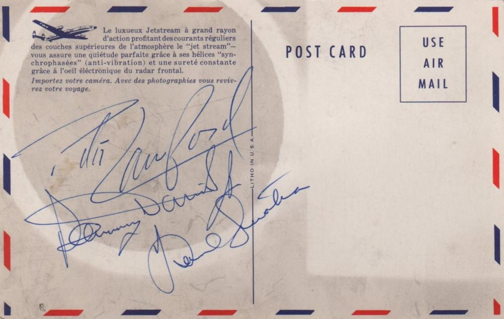 RAT PACK THE: A good set of three individual blue ink signat
