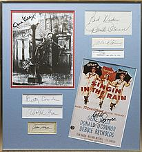 SINGIN' IN THE RAIN: Selection of individual signed pieces, cards, 8 x 10 photographs and slightly s