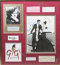 GIGI: An unusual selection of signed pieces, cards, photographs of various sizes, programme (1) etc.