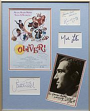 OLIVER!: Small selection of signed pieces and cards etc., by the main cast members and writer, compo