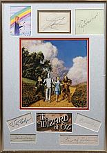 WIZARD OF OZ THE: Selection of individual signed pieces, cards, vintage 8 x 10 photograph (1) by the