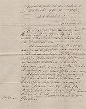 POMARE IV: (1813-1877) Queen of Tahiti 1827-77. L.S., Pomare, three pages, 4to, on board HMS Basilis