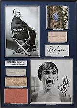 HITCHCOCK MOVIES: An unusual selection of individual signed pieces, cards, album pages, signed photo