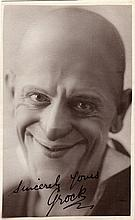 GROCK: (1880-1959) Swiss Clown. Vintage signed postcard photograph of Grock in a close-up portrait p