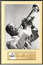 ARMSTRONG LOUIS: (1901-1971) American Jazz Trumpeter. Bold vintage fountain pen ink signature ('Loui
