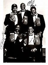BOXING: Signed 8 x 10 photograph by the World Heavyweight Champion boxers Muhammad Ali, Joe Frazier