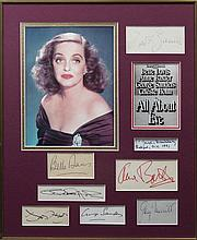 ALL ABOUT EVE: Selection of individual signed pieces, cards and album pages etc., by the main cast m