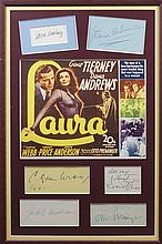 LAURA: Selection of individual signed cards and album pages (a few vintage) by the main cast members