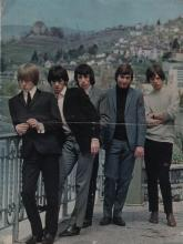ROLLING STONES THE: Vintage signed colour printed 4to tour programme by all five members of The Rolling Stones individually, Mick Jagger, Brian Jones, Keith Richards, Bill Wyman and Charlie Watts. Signed by each to the front cover of their 1965 Scottish tour programme which features an image of the band standing together in full length poses at a waterside location. All have signed  with weak contrast, especially Richards and Watts whose signatures are almost illegible. The programme is also signed to the inside pages by members of the groups that supported The Rolling Stones on this tour, comprising Ken Street, George Ford, Dave Ford and Barry Reeves (of The Checkmates), Johnny Symonds (of The Cannon Brothers), Phil Symonds, Dave Sumner and Pete Gavin (of The Shades) and Don Spencer. Each signed in blue inks with their names alone to clear areas on pages that contain an image and biography of the bands. With a horizontal fold to the centre of the programme and minor age wear. G