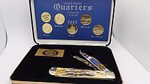 Case XX 2005 24K Gold Plated Qaurters Knife Bone Handle