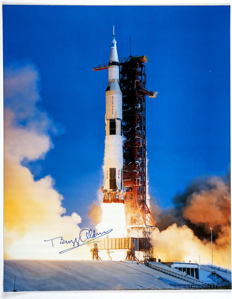 1980s Buzz Aldrin signed Apollo 11 large NASA launch color l