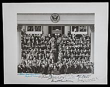 Eisenhower, Nixon, Truman, and Hoover: 1953 Inaugural Photo Signed by Four Presidents
