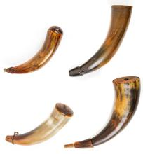 LOT OF (4) ANTIQUE 18TH-19TH CENTURY POWDER HORNS