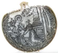 18th Century Engraved Baptismal Shell, Spanish Colonial Philippines