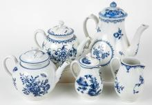 Collection of Worcester First Period ca. 1765 Coffee Pot, Teapot, Milk Jugs