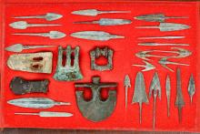 Collection of Ancient Bronze Weapons in Cased Display