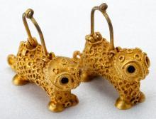 Antique Asian High Karat Gold Lion Earrings