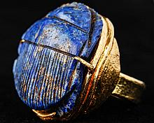 Superior Egyptian Lapis Lazuli Scarab in a 24 Kt. Gold Ring