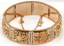 18K Yellow Gold Lady's Link Bracelet, Elegant Chinese Motif