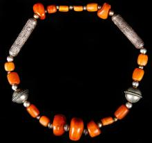 Antique Amber and Silver Beaded Necklace