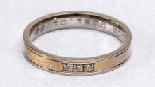 Delicate Two-Tone 18 Kt. Gold and Diamond Band