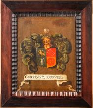 Dutch Coat of Arms Early 19th Century Oil on Board in Original Frame