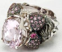 Lady's Custom Kunzite, Diamond, Ruby & 18K White Gold Ring in a Mermaid Design