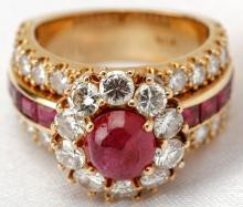 Beautiful Lady's Ruby, Diamond, 18K Yellow Gold Ring