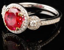 Elegant Lady's 14K White Gold Ruby and Diamond Ring