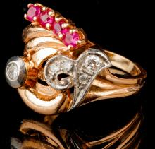 Vintage Lady's 14K Rose & White Gold, Diamond and Ruby Ring