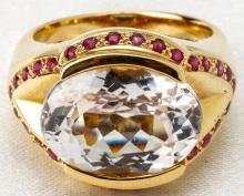 Lady's Kunzite, Ruby, 14K Yellow Gold Cocktail Ring
