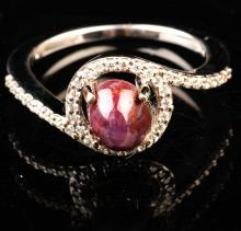 Lady's 14K White Gold Ring with Cabachon Star Ruby and Diamond Accents