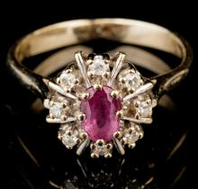 Young Woman's Petite 14K Yellow Gold, Diamond and Ruby Ring