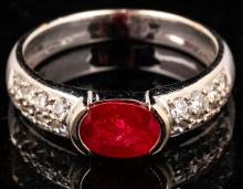 Lady's Petite 14kt White Gold, Ruby and Diamond Ring