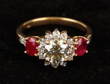 Lady's Beautiful 18K Yellow Gold 1¼ Carat Diamond and Ruby Cocktail Ring