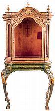 CUZCO SCHOOL, 18TH CENTURY. A carved polychrome wood altar cabinet