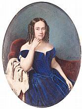 ALPHONSE BOURDIN Francia, S. XIX-XX Retrato de dama vestida de azul