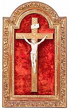 A CARVED IVORY CRUCIFIX