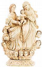 ESCUELA INDOPORTUGUESA, S.XVIII Santa Ana, la Virgen y el Niño