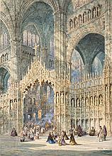 DAVID ROBERTS, Interior of the Cathedral of Toledo. Watercolor on paper