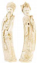 Pareja de figuras orientales en marfil tallado de pps. del S. XX.