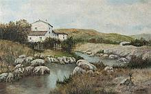 FRANCISCO CORDERO (Spanish School, late 19th century), A River Landscape with a House. Oil on canvas