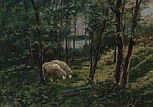 MANUEL OSUNA (19TH/20TH CENTURY), Sheep in the forest. Oil on canvas