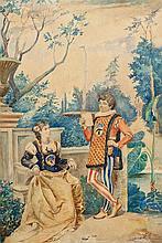 ESCUELA ITALIANA, S.XIX Pareja en un jardín