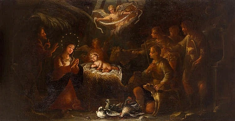 ANTONIO DE CASTREJON, The Adoration of the Shepherds. Oil on canvas