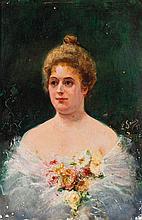 LUIS SAINZ (Escuela catalana, S.XIX) Retrato de dama